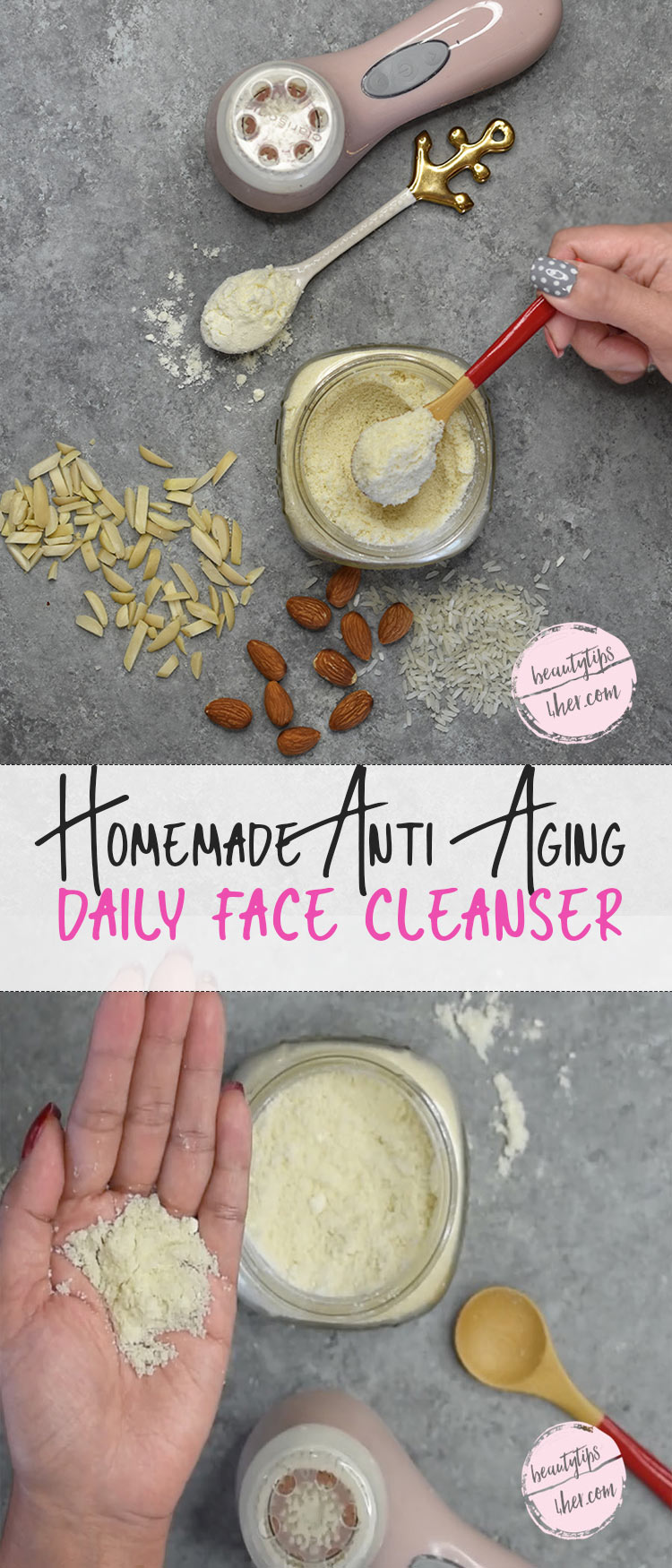 This homemade face cleanser not only moisturizes the skin, it also exfoliates it. That removes the dead skin cells that don't retain moisture and exposes new skin cells that do, plumping your skin and giving it a more youthful look.